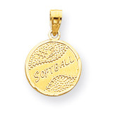 Disc with Softball Charm 10k Gold 10YC39
