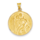 18k Gold Saint Christopher Medal Pendant 18XR14