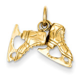 3-D Pair Of Ice Skates Charm 14k Gold A0166
