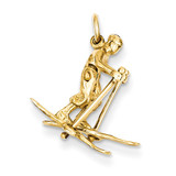 Moveable Snow Skier Charm 14k Gold A0170