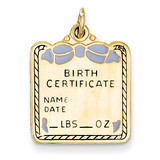 Enameled Blue Engravable Birth Certificate Charm 14k Gold A0364/B