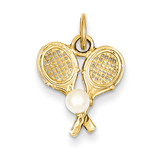 Tennis Racquets with Cultured Pearl Charm 14k Gold A0406