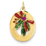 Enameled Mistletoe with Synthetic Stone Charm 14k Gold A0830