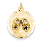 &Enamel Medium Solid Engravable Baby Shoes on Disc Charm 14k Gold A1081/DC