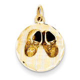 Small Solid Engravable Baby Shoes on Disc Charm 14k Gold A1081/L