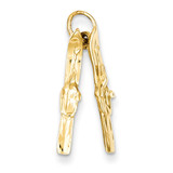 Pair of Skis Charm 14k Gold A1224