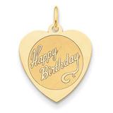 Happy Birthday Heart Disc Charm 14k Gold A2000/L