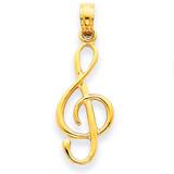 3-D Clef Note Pendant 14k Gold A2192