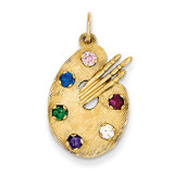 Stones Artist Palette Charm 14k Gold Synthetic Diamond A3737