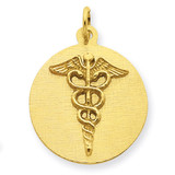 Caduceus Disc Charm 14k Gold A4115