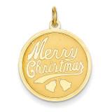 Merry Christmas Disc Charm 14k Gold A4124/L