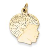 Boys Head Charm 14k Gold Solid Polished A4249
