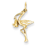 3-Dimensional Stork Charm 14k Gold Solid A7101