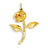 Rose Charm 14k Gold Synthetic Diamond A9014