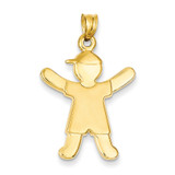 Boy with Hat Charm 14k Gold Polished A9264