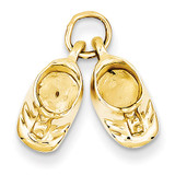 Baby Shoes Charm 14k Gold Polished A9281