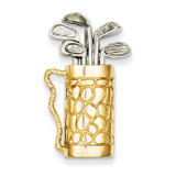 Golf Bag with Clubs Pendant 14k Gold A9477
