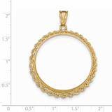 Handmade Rope Polished Prong 1AE Coin Bezel 14k Gold BA1/1AE