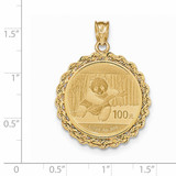 Hand Made Rope Polished Prong 1/4P Bezel with coin 14k Gold BA1/4PC