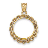 Handmade Rope Diamond-cut Prong 1/10AE Coin Bezel 14k Gold BA66/10AE