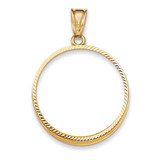 Prong 1/2AE Coin Bezel 14k Gold Diamond-cut BA67/2AE