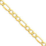 7.3mm Semi-Solid Figaro Chain 7 Inch 14k Gold BC97-7