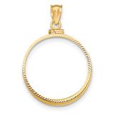 Screw Top 1/2P Coin Bezel 14k Gold Diamond-cut BP11/2P