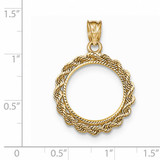 Hand Made Rope Diamond-cut Prong 1/10P Coin Bezel 14k Gold BP46/10P