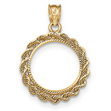 Hand Made Rope Diamond-cut Prong 1/10P Coin Bezel 14k Gold BP46/10P
