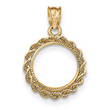 Hand Made Rope Diamond-cut Prong 1/20P Coin Bezel 14k Gold BP46/20P