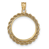 Hand Made Rope Diamond-cut Prong 1/4P Coin Bezel 14k Gold BP46/4P