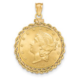Hand Made Rope Polished Screw Top $10 Coin Bezel 14k Gold BUS1/10