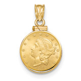 Screw Top $2.5 Coin Bezel 14k Gold Polished BUS10/2.5