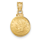 Screw Top $1.0 Coin Bezel 14k Gold Diamond-cut BUS11/1.0