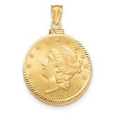 Screw Top $10 Coin Bezel 14k Gold Diamond-cut BUS11/10
