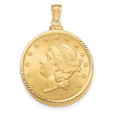 Screw Top $20 Coin Bezel 14k Gold Diamond-cut BUS11/20