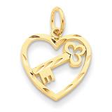 Heart & Key Charm 14k Gold C1024