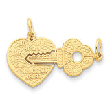 Heart with A Key Charm 14k Gold C1025