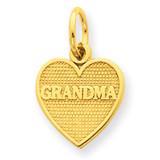 Grandma Heart Charm 14k Gold C1053