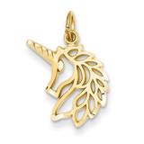 Unicorns Head Pendant 14k Gold C1144