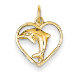Dolphin in Heart Charm 14k Gold C1181