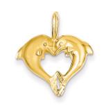 Dolphin Heart Pendant 14k Gold C122