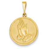 Praying Hands & Serenity Prayer Pendant 14k Gold C1308