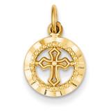 Eternal Life Cross Charm 14k Gold C1315