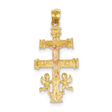 (Yellow and White) Cara Vaca Crucifix Pendant 14k Two-Tone Gold C1427
