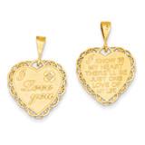 Reversible I Love You Heart Pendant 14k Gold C1640