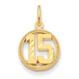 #15 Circle Pendant 14k Gold C1651