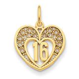 16 Heart Charm 14k Gold C1664