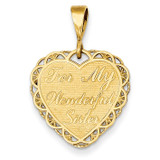 For My Wonderful Sister Charm 14k Gold C1693