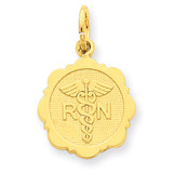 Registered Nurse Disc Charm 14k Gold C1784